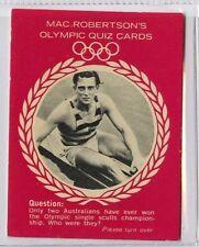 (Gm309-100) RARE, MacRobertsons, Mervyn Wood, Olympic Quiz 1964 VG-EX