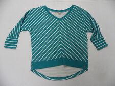 Roxy Womens Snow Flurries Green Striped  Sweater Sz Small New