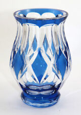 Signed Val St. Lambert blue cut to clear Deco design vase, Graffart design [1089