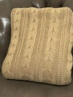 "Pottery Barn Tan Cozy Throw Blanket Cable Knit Faux Sheepskin  56"" X 72"""