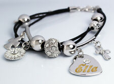 Genuine Braided Leather Charm Bracelet With Name - ELLA - Gifts for her