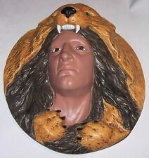 Large Ceramic Naitave American Ceramic Head  Hand Painted Wall Hang