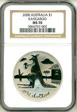 2008 $1 Australia Rare CU-NI Kangaroo NGC MS70 NGC Pop = 1