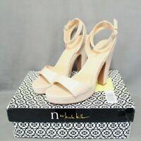 NICOLE MILLER womens dress shoe 5 in block heel 1 in platform beige size 8 M NEW