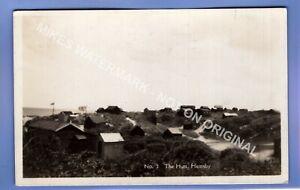 RARE 1931 THE HUTS HEMSBY NR GT YARMOUTH NORFOLK RP PHOTO VINTAGE POSTCARD