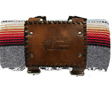Motorcycle Blanket Roll Up Belt Carrier Handlebar Hand Tooled Leather Design