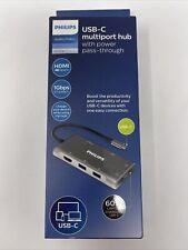 Philips USB-C Multiport hub Elite HDMI 4k 60w Audio/Video DLK9120C/27- New