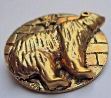 Superbe originale broche bijou vintage SAPHO couleur or médaille ours brun 3330