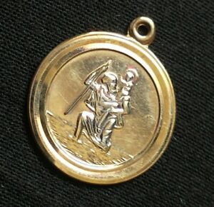 9ct (375) Gold and Silver St Christopher Pendant. Hallmarked. Very delicate.
