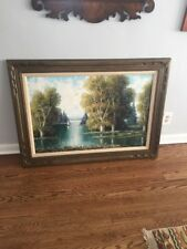 Original Oil on Canvas Painting by German Master Artist Ludwig Sohler 36 X 24