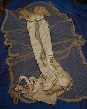 Museo squisita qualità Antico c1912 CORTE SETA/Abito in pizzo richiede restauro