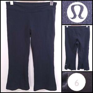 Lululemon GATHER & CROW V-Cut Yoga Cropped Leggings Size 6 Black