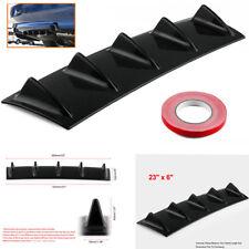 23'' x6'' Car Lower Rear Body Bumper Lip Diffuser 5 Fins Spoiler Gloss Black ABS