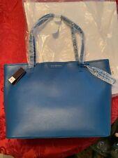 NEW Dana Buchman Parker Genuine Leather Tote & Pouch Blue NWT