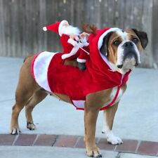 Christmas Pet Dog Puppy Xmas Costume Party Santa Riding Outfit Cosplay Suits