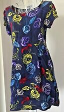 Women's Dress Blue Floral Cap Sleeves Sz10Au GUC