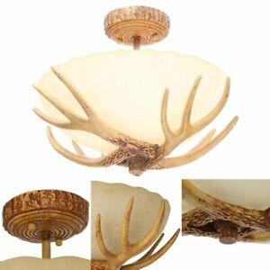 SEMI FLUSH MOUNT LIGHT ANTLER Natural Deer Horn Ceiling Sunset Glass Shade Lamp