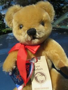 "VINTAGE MERRYTHOUGHT ENGLAND MOHAIR TEDDY BEAR 12"" 4 RARE TAGS ADORABLE FACE"