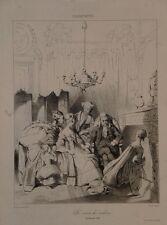 """Lithographie d' AUG.B, d'après CHARLES ANNEE """"La visite du médecin"""", XIXème"""