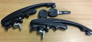 Exterior Door Handle Black 2 Handles Kit with 2 Keys for T1 Beetle 102.837.205.1