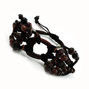 Wood Suede Cord Beaded Bracelet (Black & Brown)