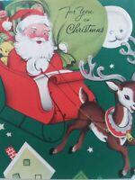 1953 Vtg SANTA Sleigh REINDEER Man in Moon Smiles CHRISTMAS GREETING CARD
