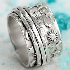 Vintage Boho Women 925 Silver Star Moon Sun  Ring Winding Band Rings Size 5-10