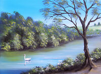 SARAH FEATHERSTONE ORIGINAL SIGNED CANVAS OIL PAINTING, THE RIVER, COUNTRYSIDE