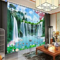 Water Clear Fall Terrace Curtain Blockout Photo Printing Curtains Drape Fabric