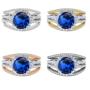 18k Gold Plated Round Blue Sapphire Wedding Engagement Silver Ring Set 2.35 Ct