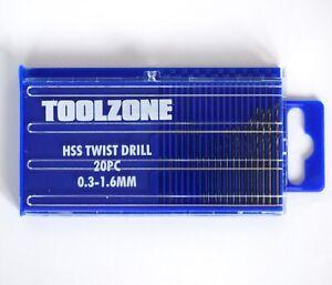 20pc HSS Metal Micro Mini Small Drill Bit Set Metric 0.3mm-1.6mm