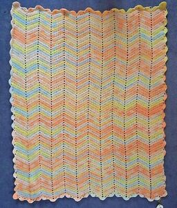 "HAND MADE CROCHET BABY BLANKET:ZIGZAG RIPPLE DESIGN  RAINBOW COLOUR, 36"" X 44"""