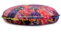 Indian Round Patchwork Floor Pillow Pom Lace Cushion Pouf Ottoman Cotton Throw
