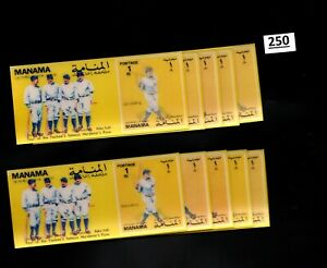 # 10 S/S MANAMA - MNH - 3D STAMPS - SPORTS - BASEBALL - FAMOUS PLAYERS
