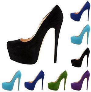 Sexy Damen Runder Zeh High Heels Platform Stiletto Pumps Party Schuhe Gr.35-47