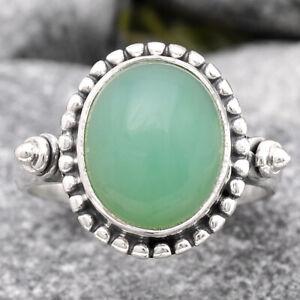 Natural Chrysoprase - Australia 925 Sterling Silver Ring s.8 Jewelry E078