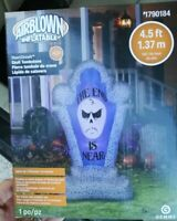 AIRBLOWN INFLATABLE HALLOWEEN 4.5 FT SHORT CIRCUIT SKULL TOMBSTONE GEMMY NEW