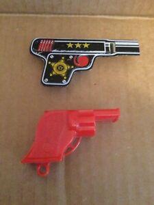 Vintage 1950s Renwal Red Plastic Gun Whistle  & Clicker Gun