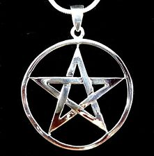 Handcrafted 925 Sterling Silver Round Pentacle Pentagram Pendant Talisman Wicca