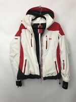 Women HELLY HANSEN HELLY TECH White Red SNOW SUIT SKIING HOODED JACKET M MEDIUM