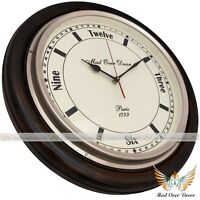 VINTAGE STYLE WOODEN BRASS WALL CLOCK HOME CABIN DECOR COLLECTIBLE GIFT ITEM