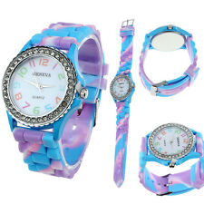 Women Geneva Silicone Crystal Bling Analog Digital Quartz Wrist Watch Blue