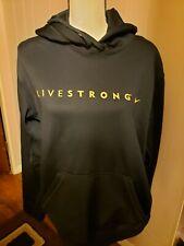 Nike Livestrong Men Hoodie Therma Fit Sz Medium Black Yellow Spellout Sweatshirt