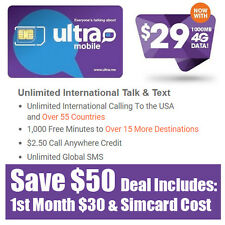 Free 1st Month - Ultra Mobile Prepaid Sim Card $29 Unlimited Talk Text & Web