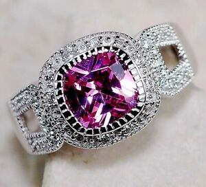AAA Gared 3CT Pink Sapphire & Topaz 925 Sterling Silver Ring Jewelry Sz 7, M4