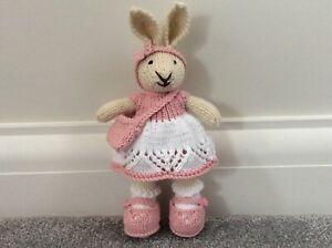 Hand Knitted Bunny Rabbit, Pink & White Clothes - Gift, Birthday, Present