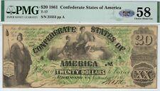 T-17 Pf-2 1861 $20 Confederate Paper Money - Pmg Choice About Unc 58 - Plus!