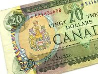 1969 Canada 20 Dollar *EA Replacement Circulated Beattie Rasminsky Banknote M832