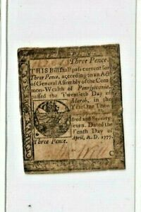 """3 PENCE  """"OLD COLONIAL CURRENCY"""" 1777  (3 PENCE) """"OLD COLONIAL"""" 1777 RARE!!!"""