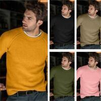 Herrenmode Rundhals Pullover Raglan Lammwolle Kaschmir Herbst Winter Sweater 3XL